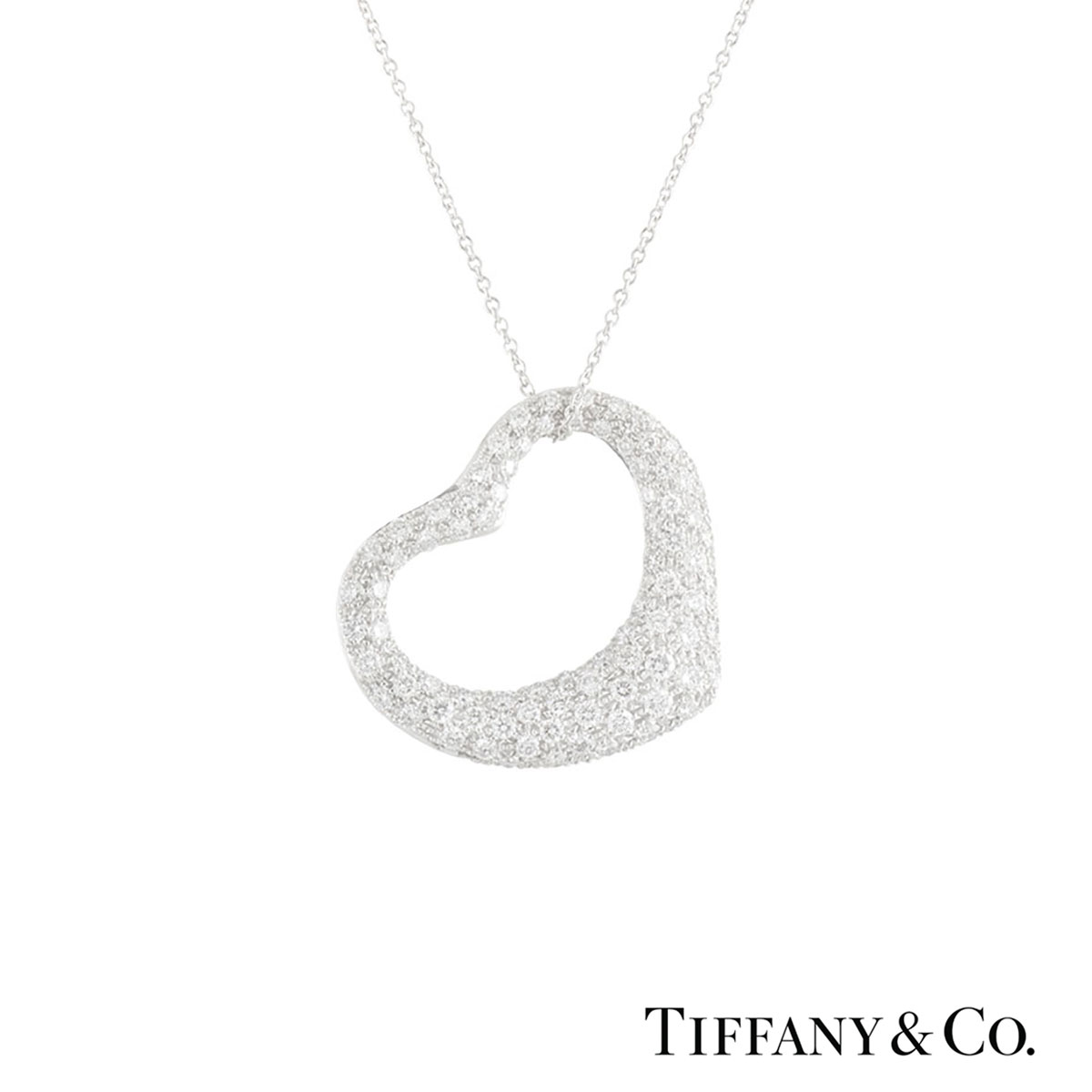 Tiffany & Co. Platinum Diamond Elsa Peretti Necklace 2.00ct G/VS